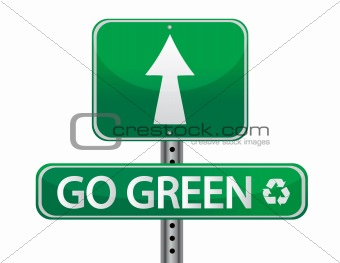 Go green sign illustration design over a white background