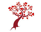 Heart tree illustration design isolated over a white background
