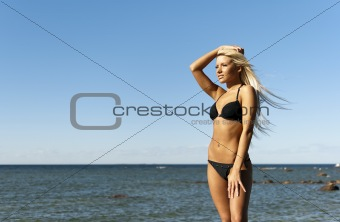 girl in bikini posing on a rock near the sea