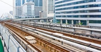 Sky train railway line in Bangkok