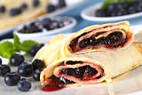 Pancakes Filled with Blueberry Jam