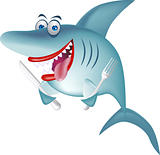 Funny shark cartoon isolated