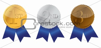 Three ribbon of Achievement, gold, silver and bronze illustration design