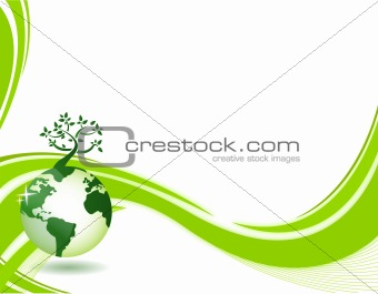 Green nature background. Eco concept illustration. Abstract green illustration with copyspace.