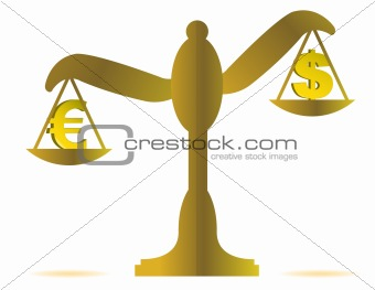 3d illustration of euro and dollar on balance over a white background