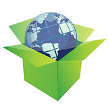 globe illustration design inside a green box isolated over a white background