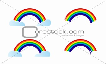 four different rainbow options to choose from. Illustration design.