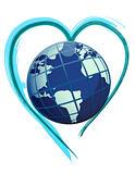 earth globe over a bush heart illustration design
