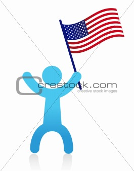 american man waving a USA flag illustration design isolated over white