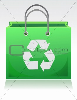 green recycle bag illustration isolated over a white background