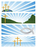 four illustration Religious banners isolated over a white background