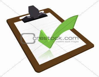 Clipboard with check mark illustration design over a white background