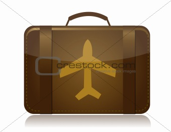 airplane luggage brown illustration design isolated over white