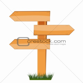 three empty arrow sign made out of wood on a patch of grass.