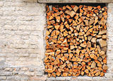 Pile of chopped fire wood prepared for winter