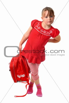 Small girl carrying heavy school bag isolated on white