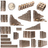 Collage of stacks of 2 Euros Coins in front of white background