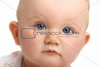 Beautiful baby with blue eyes isolated on white background