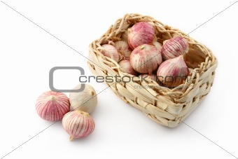 Garlic in a wicker basket