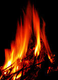 hot fire on black