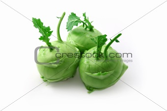 Three kohlrabi heads