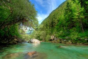 Clear Alpine river Soca in Slovenian Alps