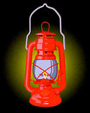 burning red oil lamp
