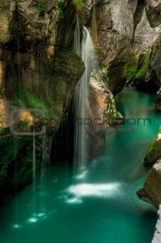 Small waterfal in Soca river valey Slovenia