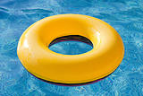 Yellow float floating in the pool
