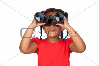 African little girl looking through binoculars