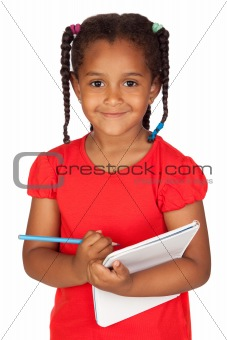 African little girl with a notebook