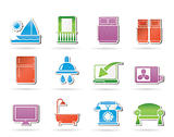 Hotel and motel room facilities icons