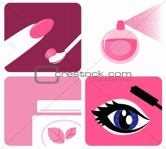 Beauty, cosmetic and makeup icons isolated on white