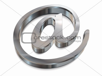 3d chrome email symbol vector graphic
