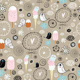 funny pattern of birds and ice cream