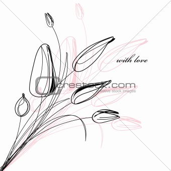 greeting card with a sketch of tulips