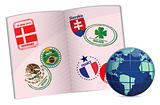 globe and passport illustration design with around the world stamps