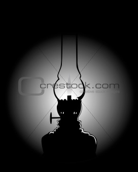 black silhouette of a kerosene lamp