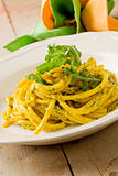 Pasta with Saffron and arugula pesto