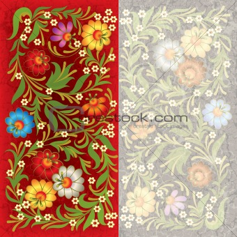 abctract grunge background with floral ornament