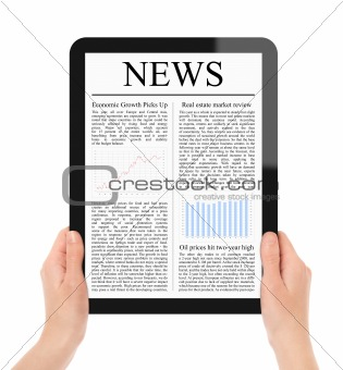 Holding Tablet PC With Business News