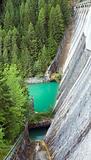 mountain lake dam view