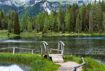 Alpine summer lake view