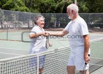 Senior Tennis Players Handshake