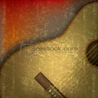 abstract music background with acoustic guitar