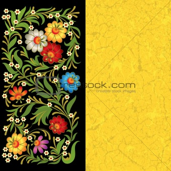 grunge floral ornament on black yellow