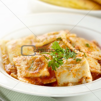 ravioli with garnish