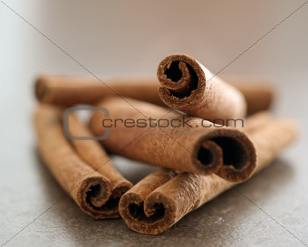 cinnamon sticks in a pile closeup