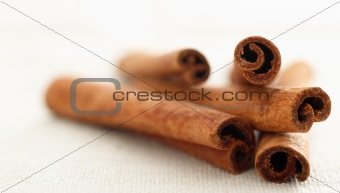 cinnamon sticks laying in a pile with selective focus
