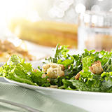 leafy green salad with croutons